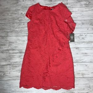 Vince Camuto Coral Lace Overlay Dress 8 NWT
